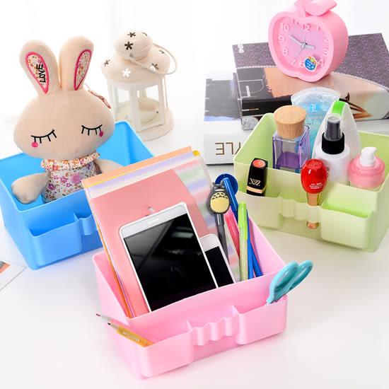 ✭米菈生活館✭【A01-1】純色無印分隔收納盒 大容量 韓版 化妝品 桌面 整理 防水 雜物 文具