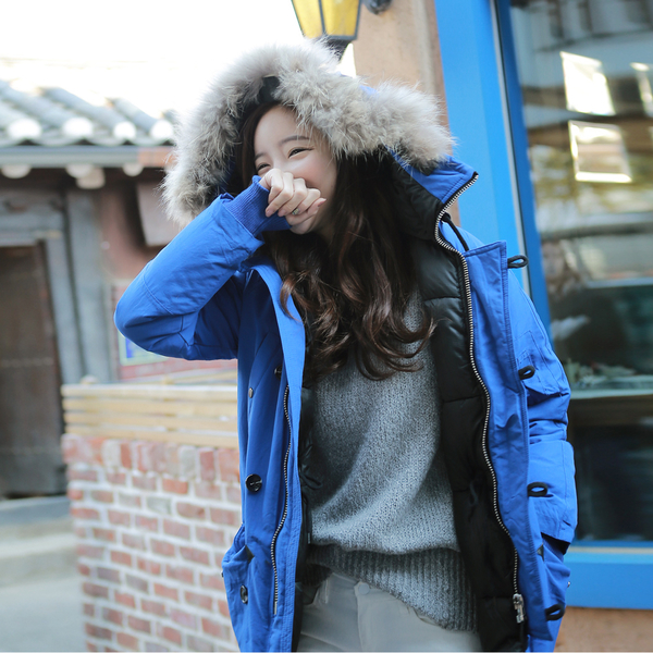 【現貨】梨卡 - 韓國空運Running man韓藝瑟同款 - 連帽中長版鋪棉大毛領加厚防風外套風衣大衣K364
