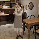秋冬韓版新款法式V領寬鬆中長款針織背心馬甲女洋氣減齡套裝 雅楓居