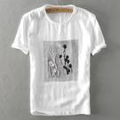 亞麻T恤-創意刺繡印花棉麻短袖男上衣73xf48【巴黎精品】