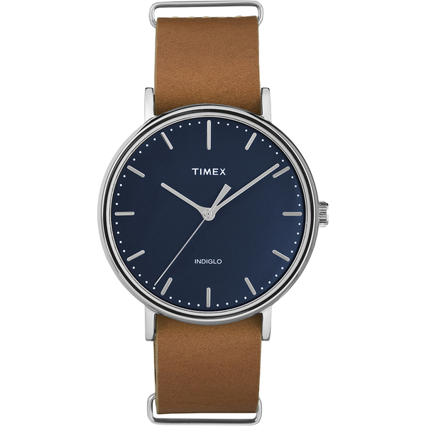 【TIMEX】天美時週末Fairfield系列時尚手錶(藍/咖啡 TXT2P97800)