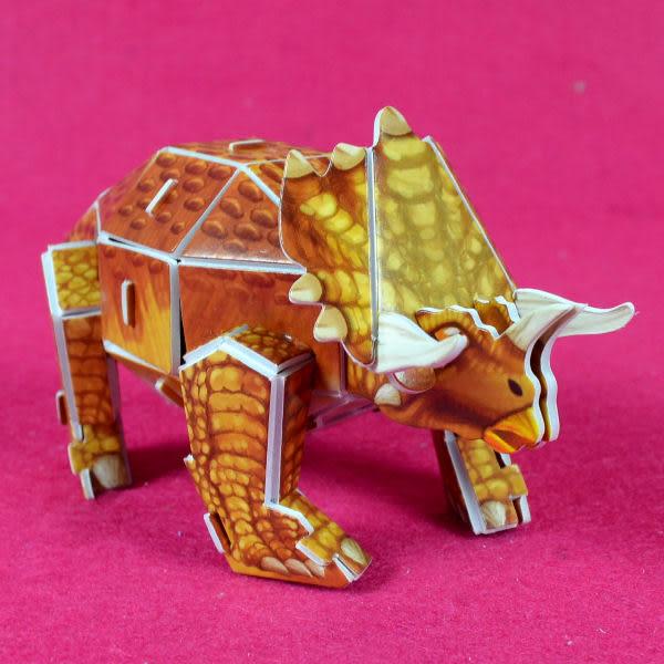 佳廷模型 親子DIY紙模型3D立體拼圖贈品獎勵品專賣店 昆蟲館動物園 袋裝恐龍1三角龍 Calebou卡樂保