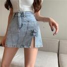 牛仔 半身裙 小個子女 夏季 2021新款 氣質 開叉 包臀裙子 顯瘦A字 褲裙