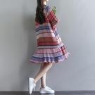森女系洋裝 森女系夏季新款文藝寬鬆五分袖荷葉邊拼接雪紡百褶條紋連身裙-Ballet朵朵