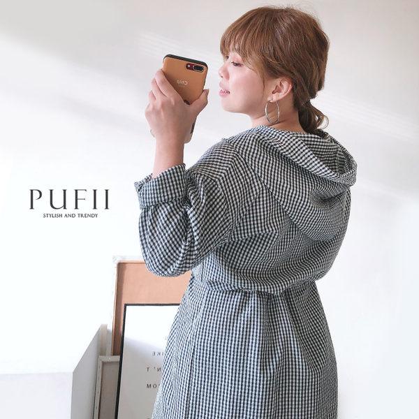 限量現貨★PUFII-洋裝 黑白格連帽縮腰洋裝-0822 現+預 夏【CP17129】