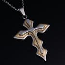 真空電鍍鈦鋼三層十字架項鍊