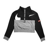 Nike 長袖T恤 Pro Get Fit Icon Clash Fleece Top 黑 灰 女款 短版 運動休閒 【ACS】 CJ3467-010