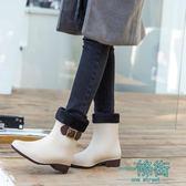 雨鞋果凍加絨成人純色保暖雨靴膠鞋防水鞋防滑韓國學生女短筒【一條街】