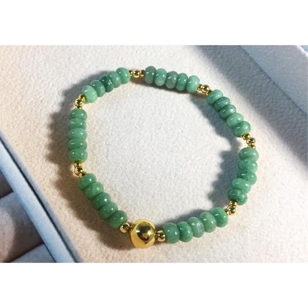 天然翡翠A貨(緬甸玉)辣綠算盤珠 手鍊 珠串 優惠價