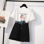 XL--4XL批發搶購3件9摺短袖套裝大碼女裝 韓版寬松t恤牛仔裙兩件套裝8109F4F059朵維思