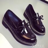 新款女鞋英倫風春季單鞋chic小皮鞋女學生百搭原宿中跟樂福鞋花間公主