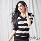Victoria 兩面可穿拉克蘭七分袖T-女-黑白條