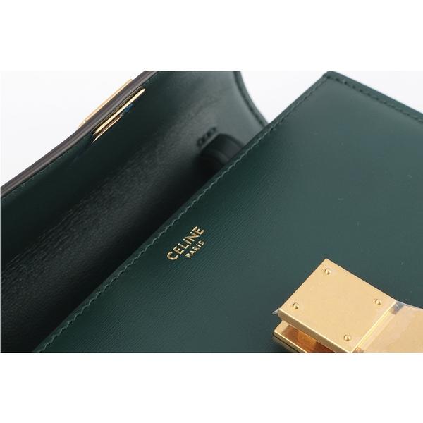 【CELINE】Classic Box 牛皮側背金釦(亞馬遜綠) 192523DLS.31AN