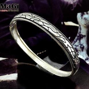 銀懷舊男士 銀復古個性閉口手環