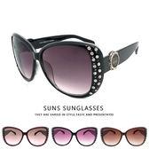 MIT淑女鑲鑽太陽眼鏡 大框眼鏡顯小臉 時尚流行墨鏡 100%抗紫外線UV400 台灣製造