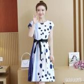 中大尺碼女裝2020春季胖妹妹雪紡五分袖連身裙潮時尚潮流氣質洋裝 yu12117『俏美人大尺碼』