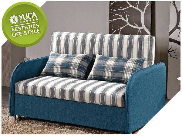 沙發【YUDA】赫曼 雙人實木骨架 鋼管 棉麻布 沙發床/沙發 附抱枕2個 J9M 717-2