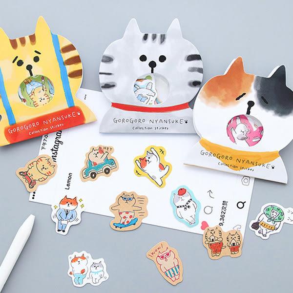【BlueCat】GOGO貓水彩風格PVC手帳貼紙包 (30入)
