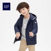 Gap男童 舒適保暖長袖拉鏈連帽棉服外套 473922-海軍藍