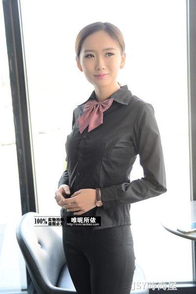 新款職業短袖襯衣工作服棉免燙女士襯衫長袖商務修身黑襯衫特大碼 JSY時尚屋