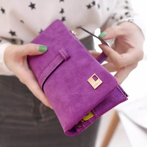 復古抽帶簡約多卡位兩折磨砂女士女用錢包零錢包皮夾長夾非中夾短夾