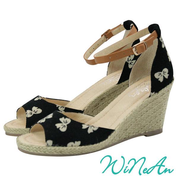WINEAN薇妮安-麻繩編織松糕厚底涼鞋(黑蝶紋)-WNA-3002