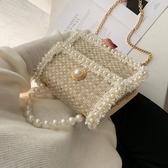 爆款熱銷鍊條包超火包包女新款韓版時尚珍珠手提百搭鍊條側背斜背小方包聖誕節