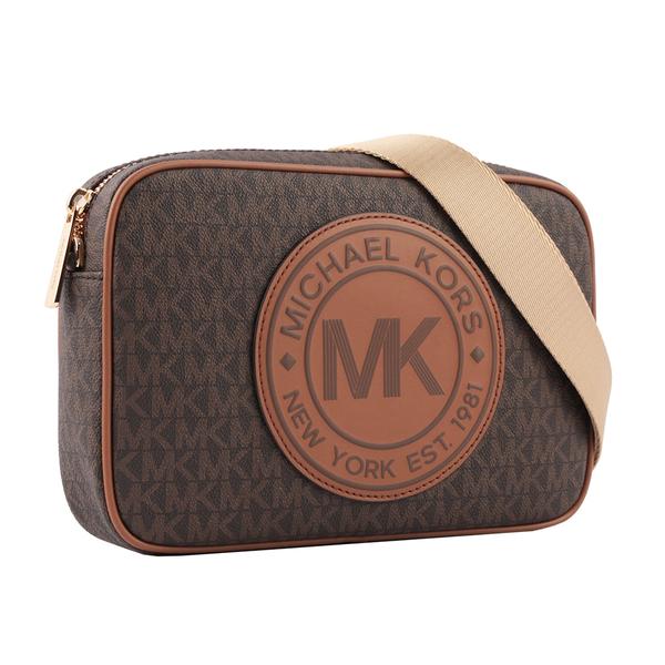 【MICHAEL KORS】圓形皮革LOGO滿版MK方形斜背包(咖啡色) 35F9GF0C3B BROWN