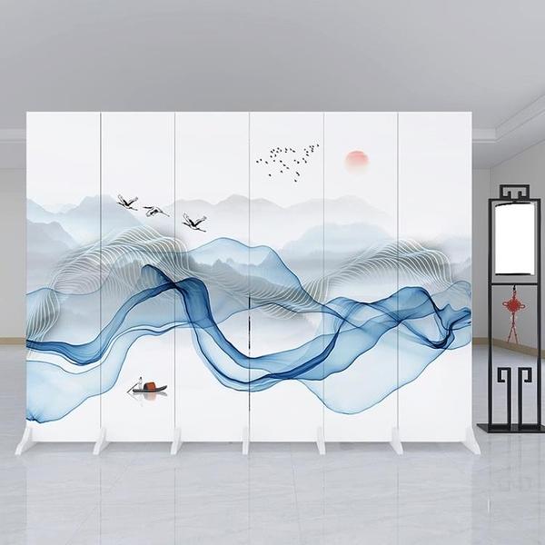 4扇加板新中式屏風隔斷墻客廳折疊移動簡約現代辦公室臥室內裝飾家用遮擋 酷男精品館