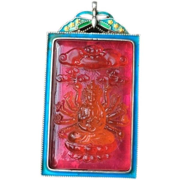 復古老貨尼泊爾手工老藏銀手工千手觀音佛像碧璽寶石老物件掛件