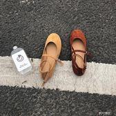 秋季韓版甜美新款絨面圓頭一字鞋淺口學生娃娃鞋平底跟單鞋女鞋子   東川崎町