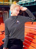 半高領修身打底衫女2019秋冬新款內搭長袖條紋t恤小中領秋冬上衣