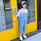 吊帶褲套裝2018新款女童洋氣九分牛仔寬褲兩件式 GY1408『寶貝兒童裝』