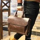 男包瘋馬皮手提包韓版單肩斜背包/側背包商務復古公文包休閒電腦時尚潮流  一米陽光