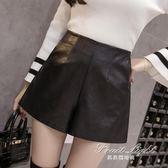 短褲皮短褲女秋冬pu皮褲寬鬆大碼闊腿A字褲顯瘦休閒外穿高腰靴褲 果果輕時尚