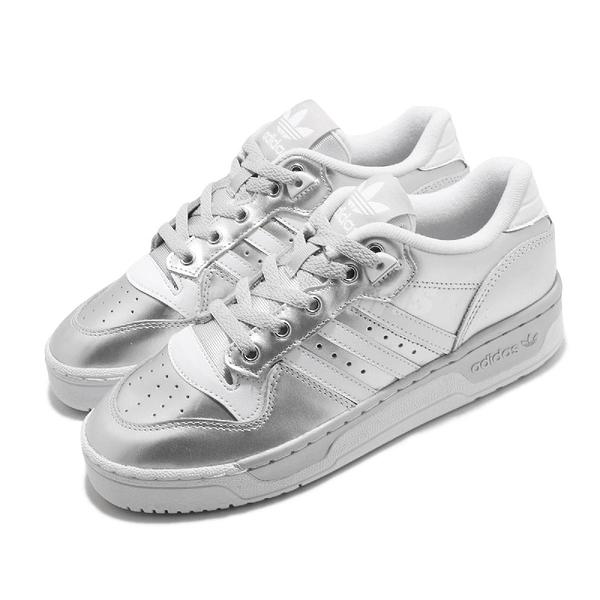 【海外限定】adidas 休閒鞋 Rivalry Low 銀 白 女鞋 三葉草 運動鞋 【ACS】 EE5930