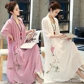茶服茶人服夏大碼女裝棉麻連身裙200斤胖妹妹顯瘦復古禪意民族中國風 阿卡娜