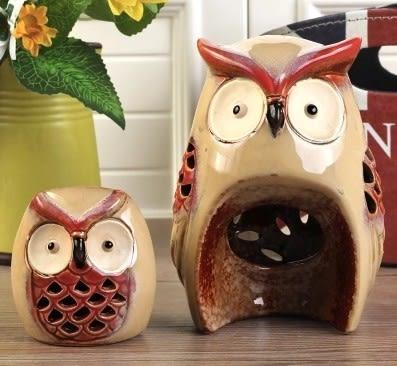 [協貿國際]陶瓷鏤空貓頭鷹裝飾品單套價(大小1套)