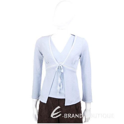 LORENA ANTONIAZZI 水藍色條紋飾邊綁帶兩件式上衣 0520682-23