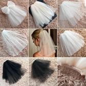 新款新娘頭紗韓式短款結婚婚紗小頭紗頭飾