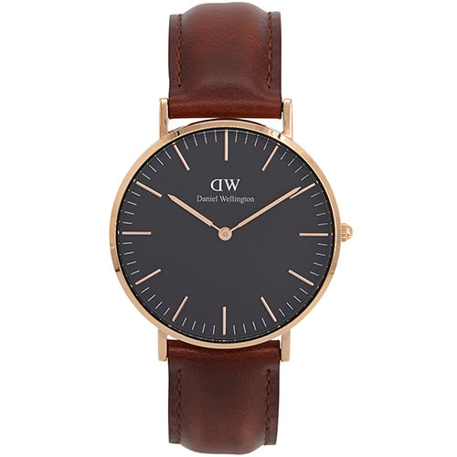 DW Daniel Wellington Classic DW00100136 36mm 淺紅咖啡 手錶 金框 皮帶