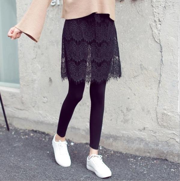 打底褲裙女外穿假兩件秋冬加絨半身連褲帶裙子高腰一體蕾絲裙顯瘦1入