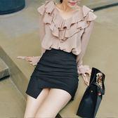 半身裙 不規則半身裙緊身包臀性感高腰短裙開叉一步裙短款 巴黎春天