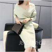 秋冬季韓版女裝針織衫中長款套頭毛衣連身裙 修身打底衫 米蘭shoe