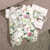 連體衣 新生兒短袖夏季女寶寶連體衣嬰兒夏裝純棉哈衣爬服可愛短袖公主裝 萌萌小寵