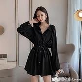 裙子女夏裝輕熟風小心機洋裝修身收腰顯瘦性感赫本風氣質小黑裙