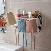 衛生間牙刷架漱口盃置物架浴室吸壁式刷牙盃架免打孔壁掛洗漱套裝   LannaS