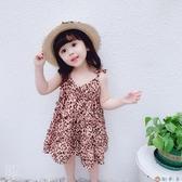 兒童洋氣連身裙女童夏裝豹紋連衣裙女寶寶公主吊帶裙【淘夢屋】