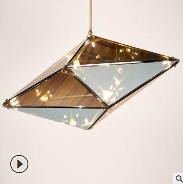 特惠 北歐創意簡約特色客廳吊燈餐廳設計師個性藝術多面體玻璃鑽石吊燈(不送光源)