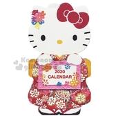 〔小禮堂〕Hello Kitty 2020 和風造型桌曆卡片《粉白.和服》月曆.賀卡 4901610-27063